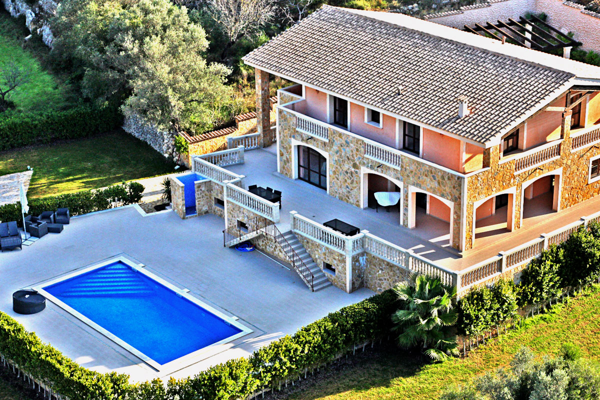 New natural stone country house (finca) in Santa Maria in Mallorca with the finest panoramic mountain views for sale